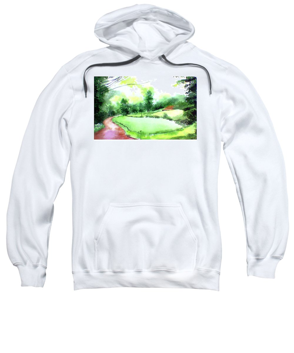 Landscape Sweatshirt featuring the painting Rains In West by Anil Nene