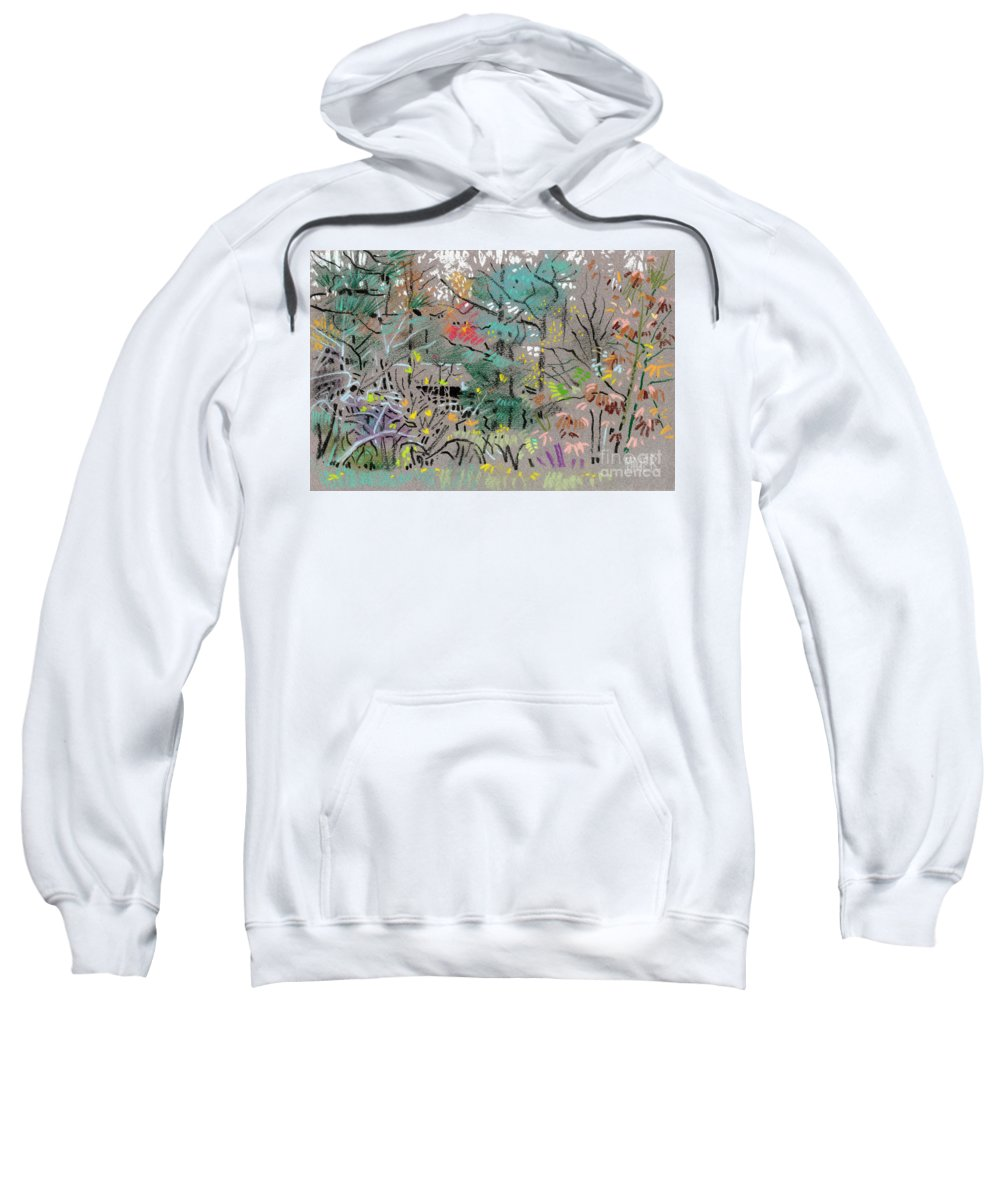 Plein Air Sweatshirt featuring the drawing Rainy Day In High Ridge by Donald Maier