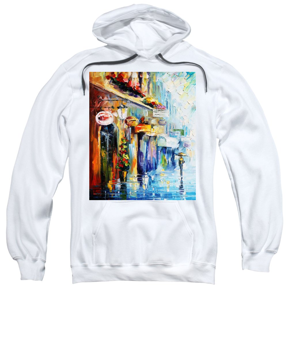 Afremov Sweatshirt featuring the painting Rainy Stroll by Leonid Afremov