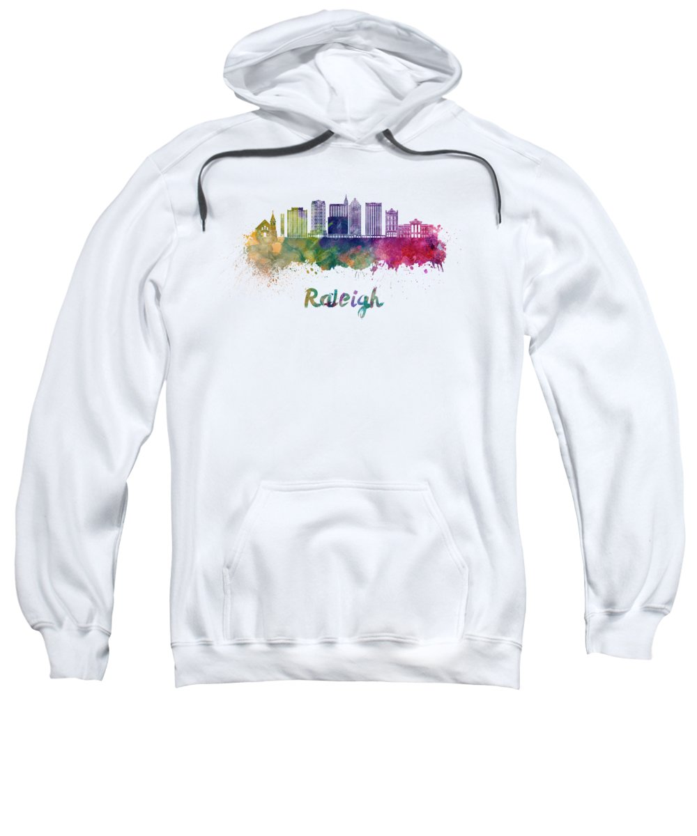 Raleigh Sweatshirt featuring the painting Raleigh V2 Skyline In Watercolor by Pablo Romero