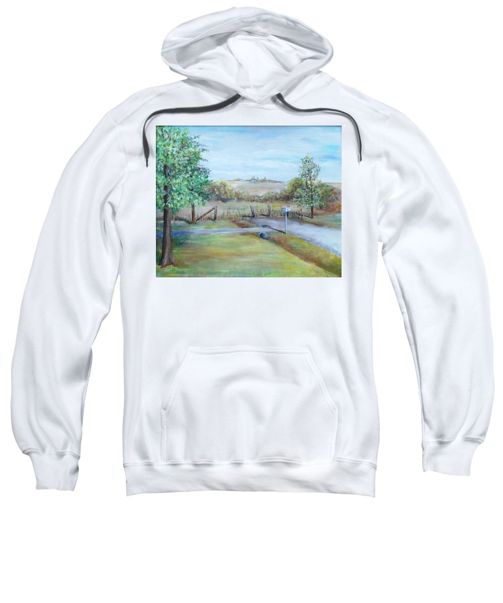 Sweatshirt featuring the painting Ranch Rd by Jan Marie