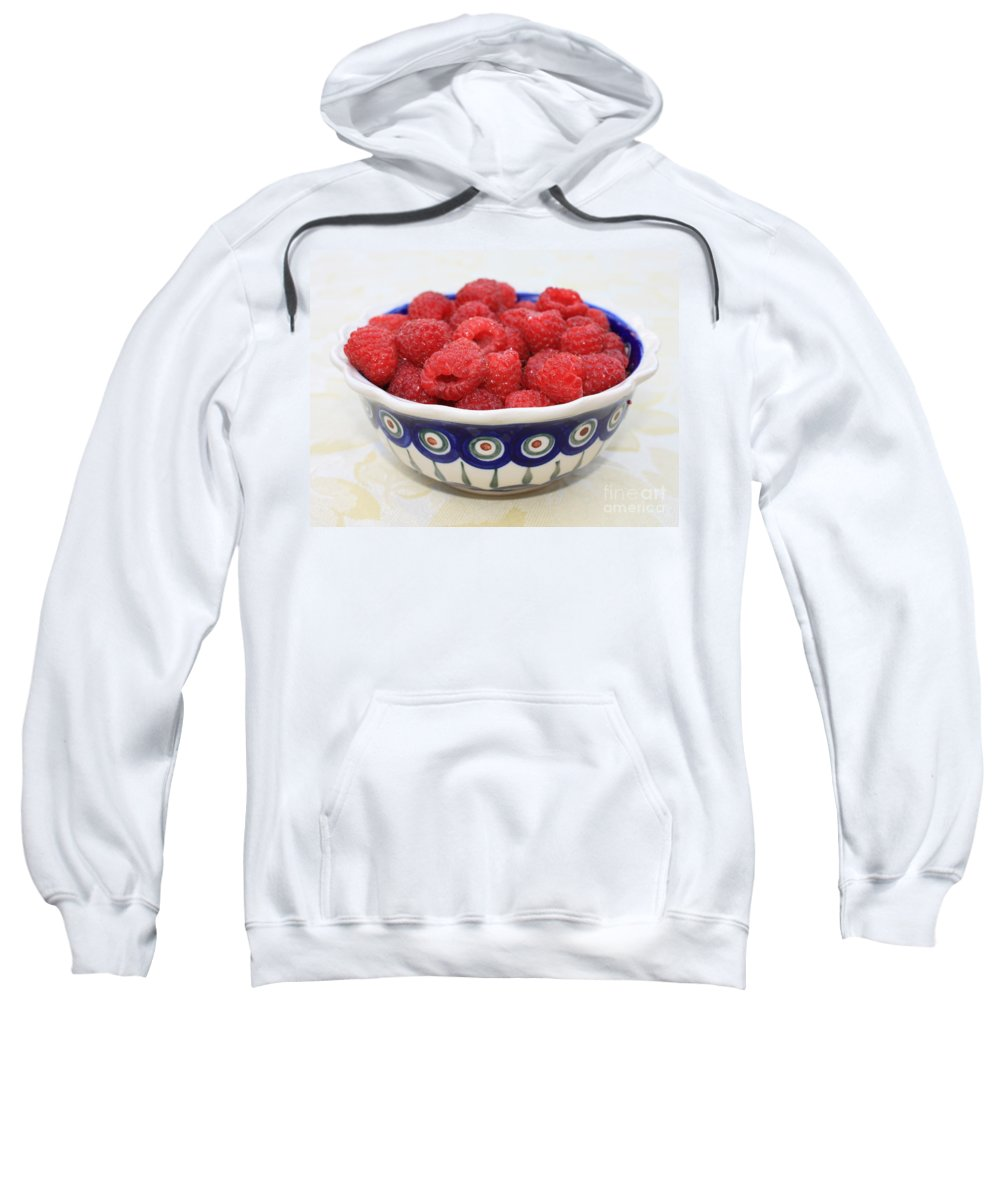 Raspberries Sweatshirt featuring the photograph Raspberries In Polish Pottery Bowl by Carol Groenen
