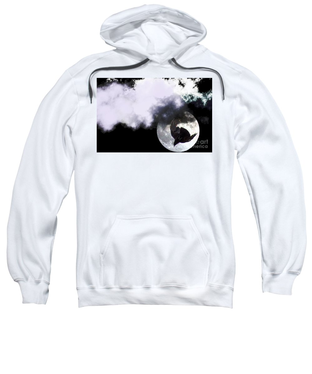 Clay Sweatshirt featuring the photograph Raven Moon by Clayton Bruster