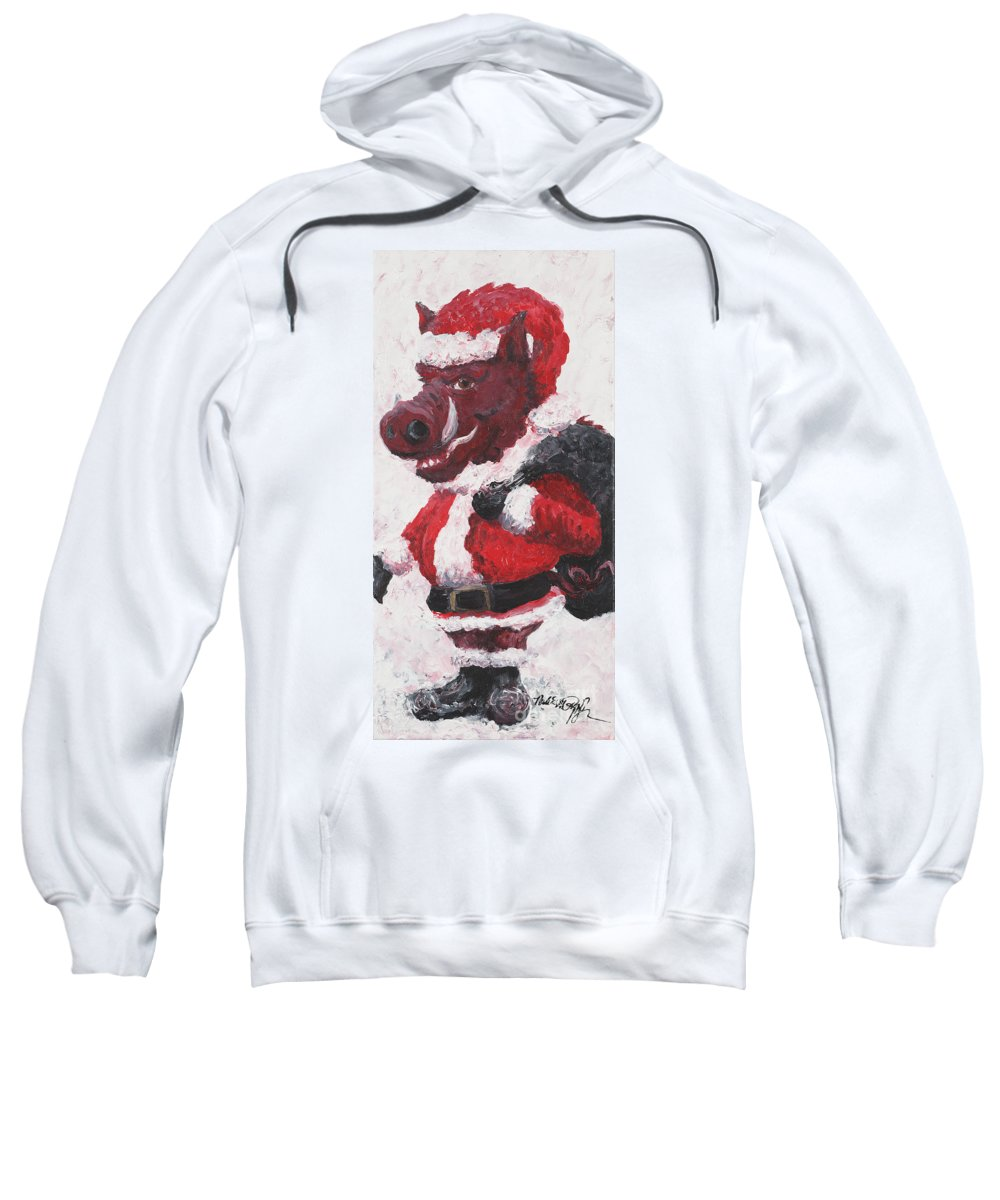 Santa Sweatshirt featuring the painting Razorback Santa by Nadine Rippelmeyer