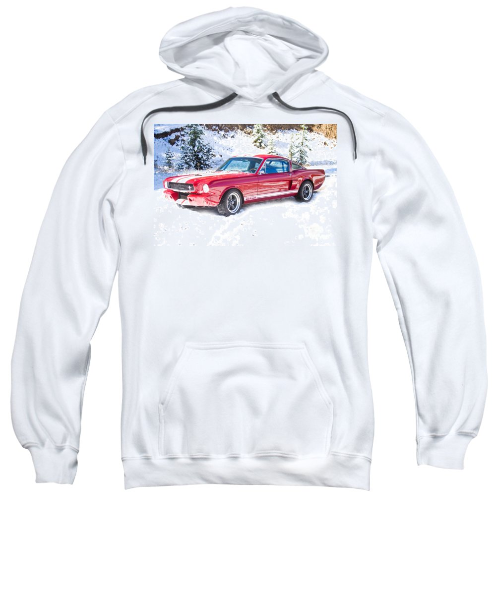 Automobiles Sweatshirt featuring the photograph Red 1966 Ford Mustang Shelby by James BO Insogna