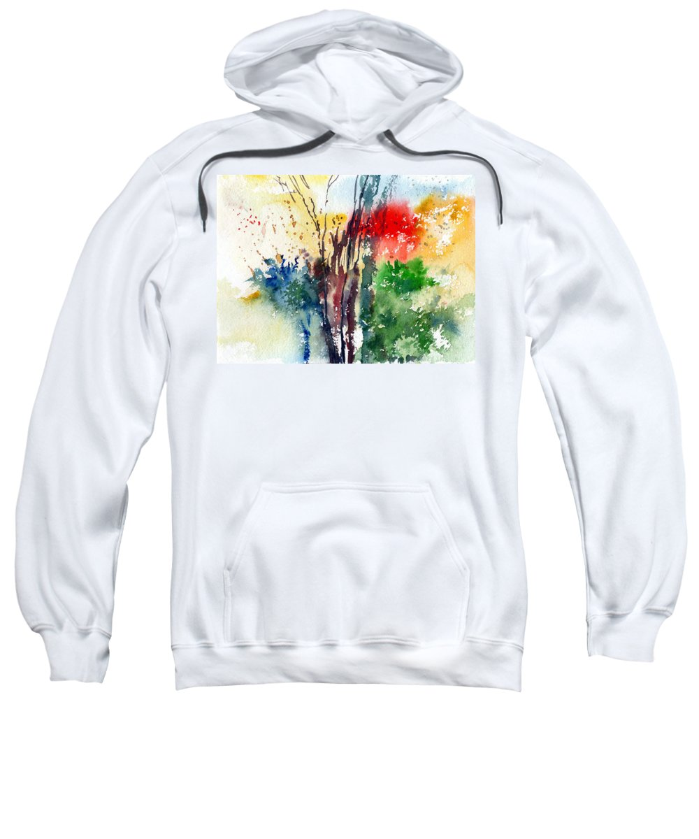 Watercolor Sweatshirt featuring the painting Red And Green by Anil Nene