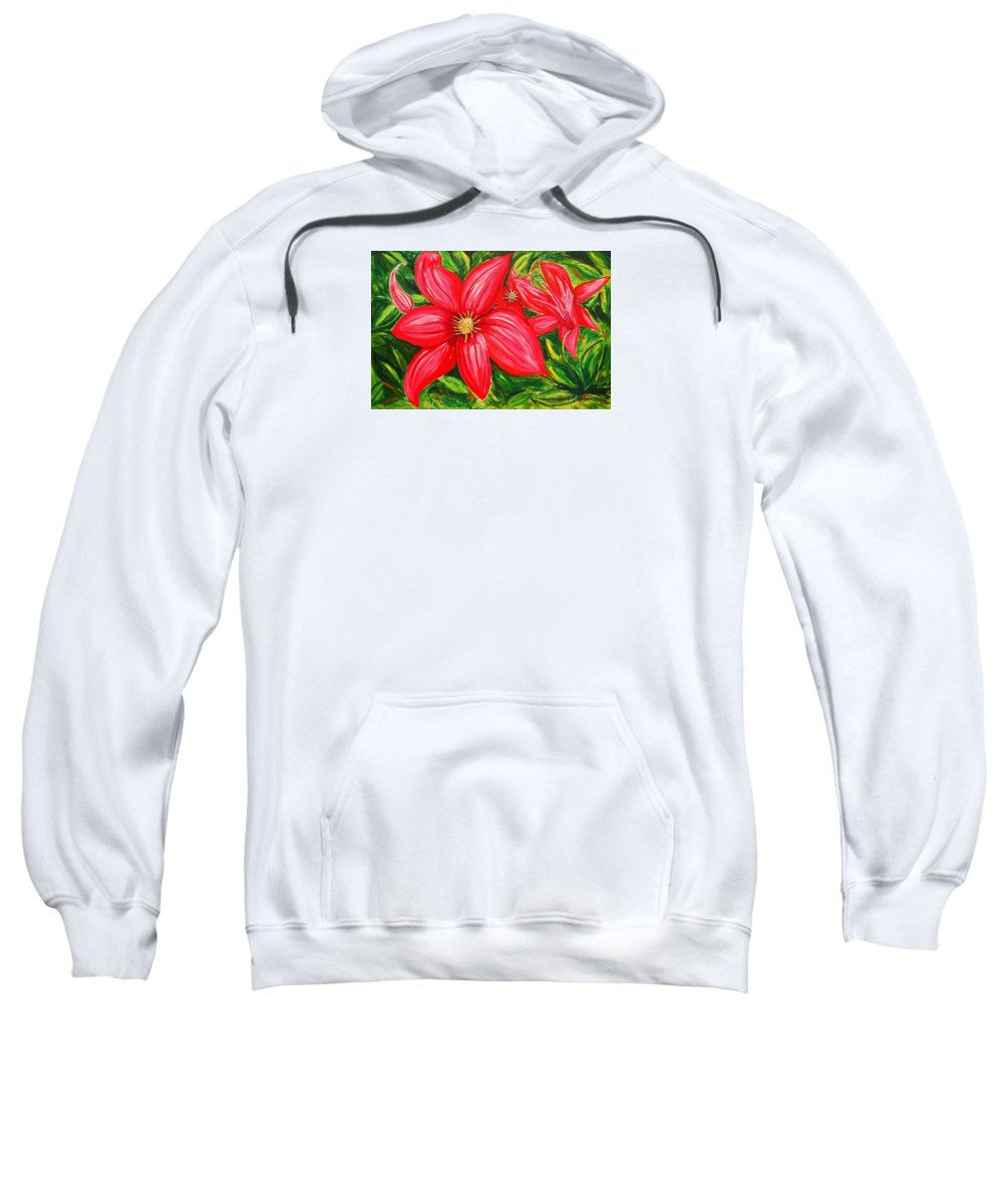 Flower Painting Sweatshirt featuring the painting Red And Green by J R Seymour