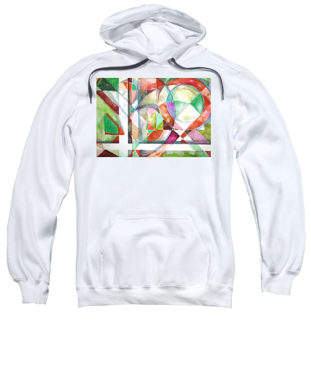 Geometric Sweatshirt featuring the painting Red And Green by Mindy Newman