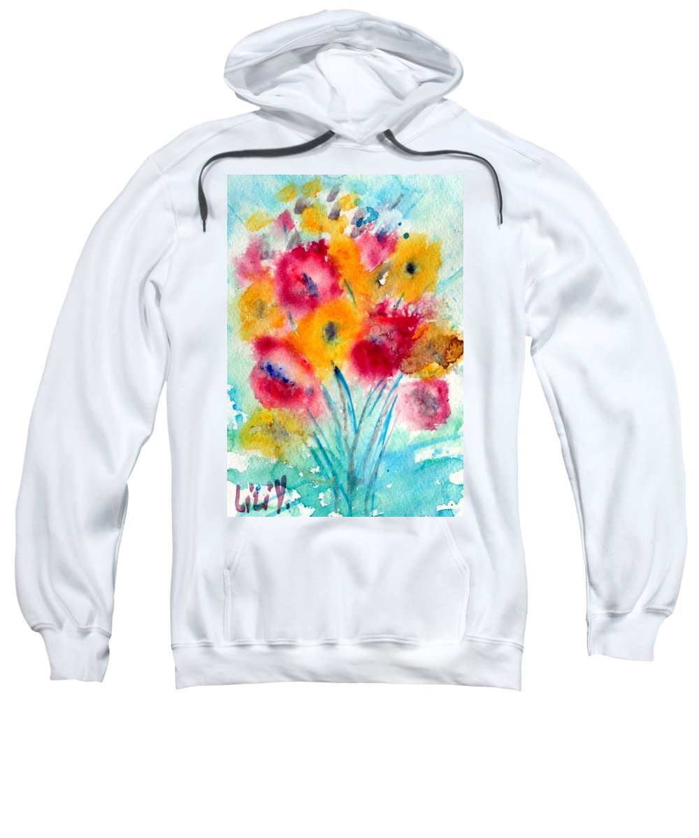 Flowers Sweatshirt featuring the painting Red And Yellow Flowers by Luiza Vizoli