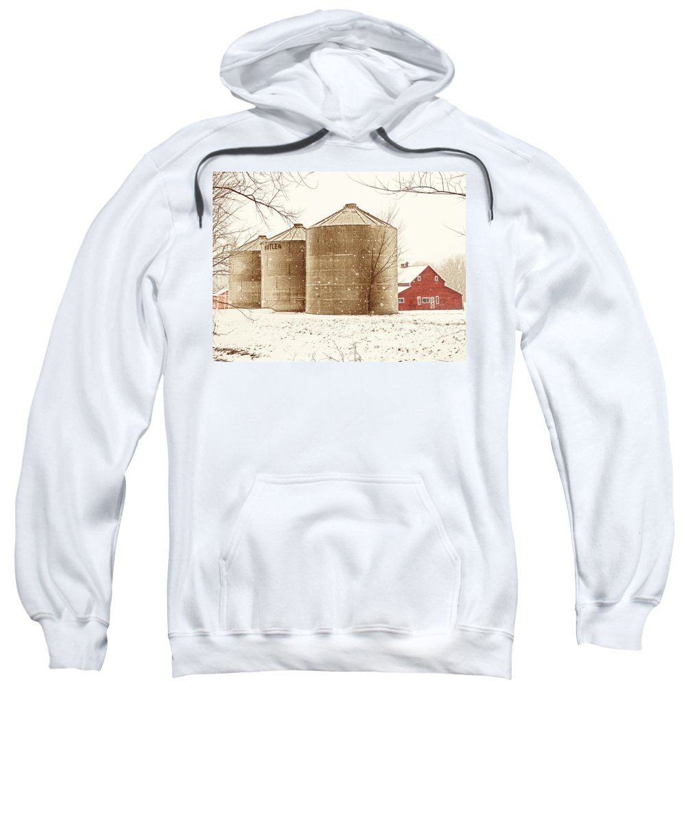 Americana Sweatshirt featuring the photograph Red Barn In Snow by Marilyn Hunt