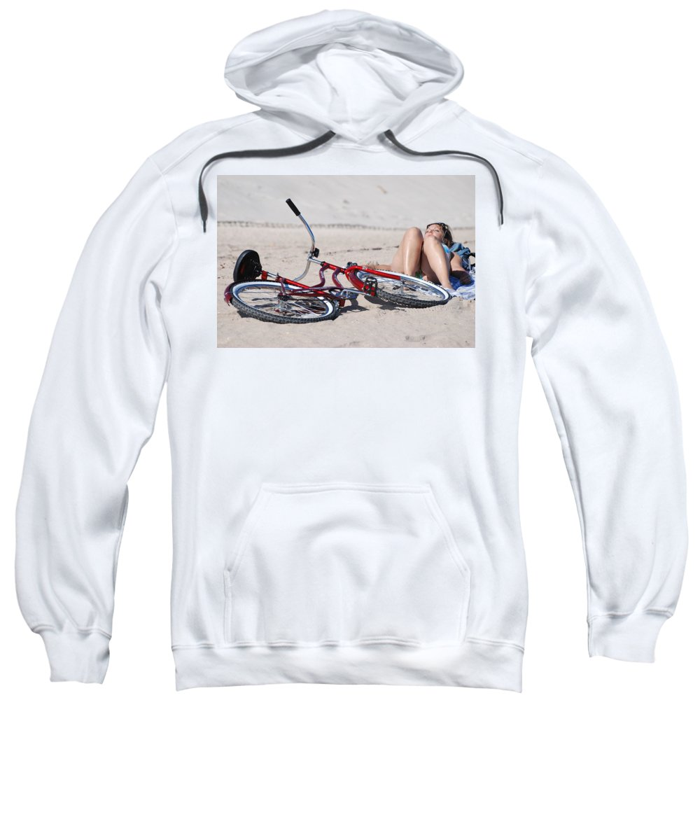 Red Sweatshirt featuring the photograph Red Bike On The Beach by Rob Hans