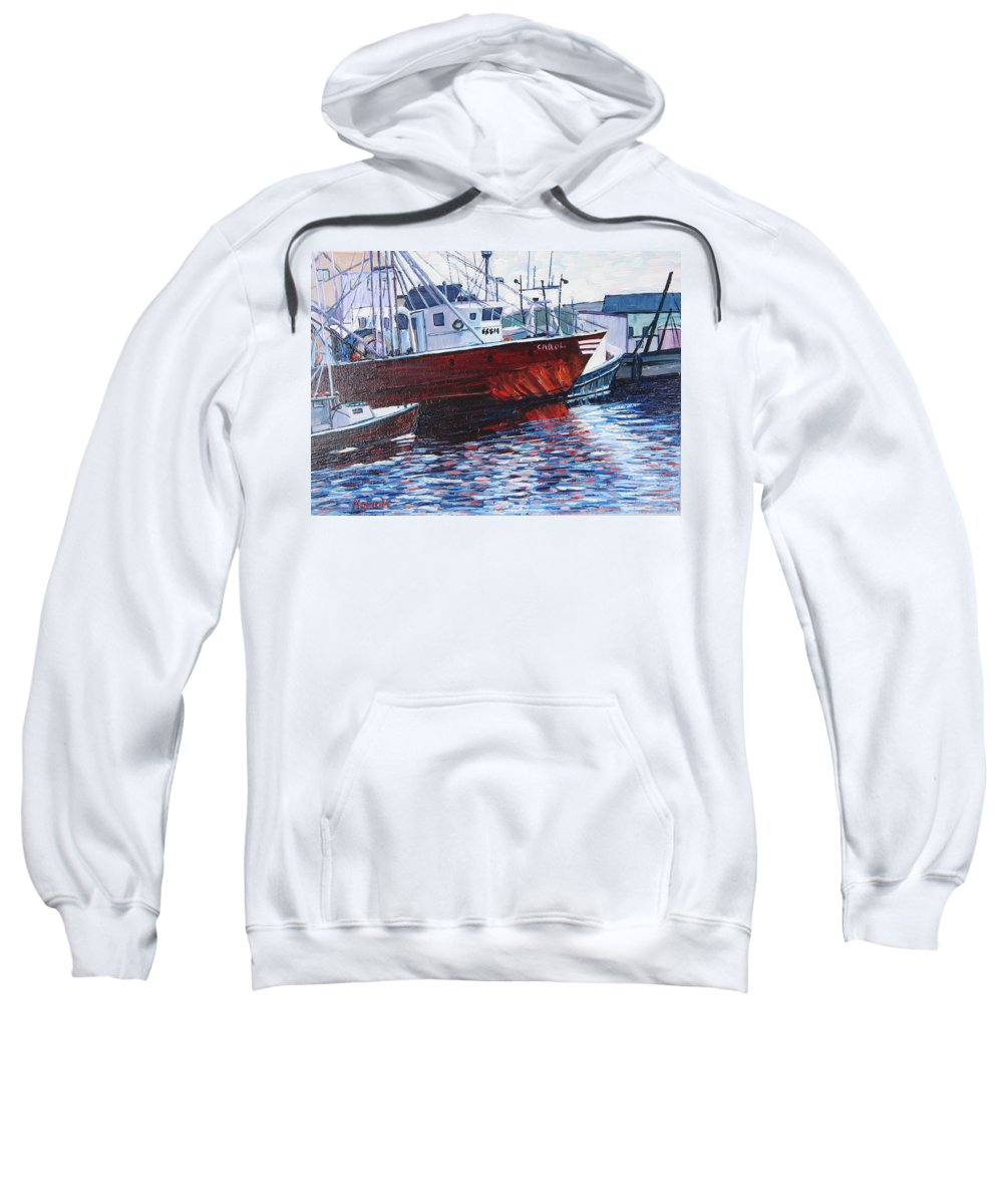 Boats Sweatshirt featuring the painting Red Boats by Richard Nowak