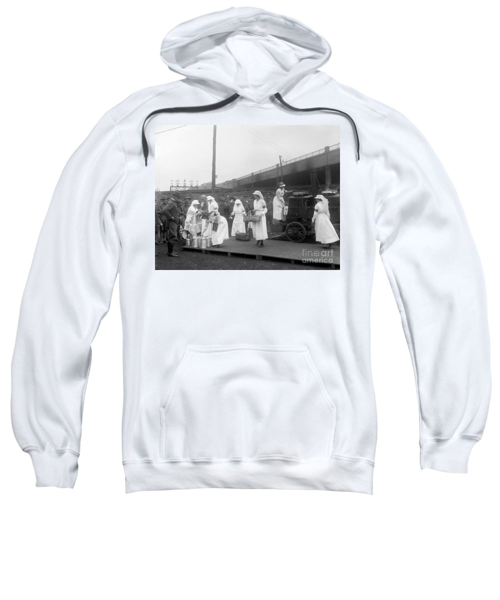 1918 Sweatshirt featuring the photograph Red Cross: Canteen, C1918 by Granger