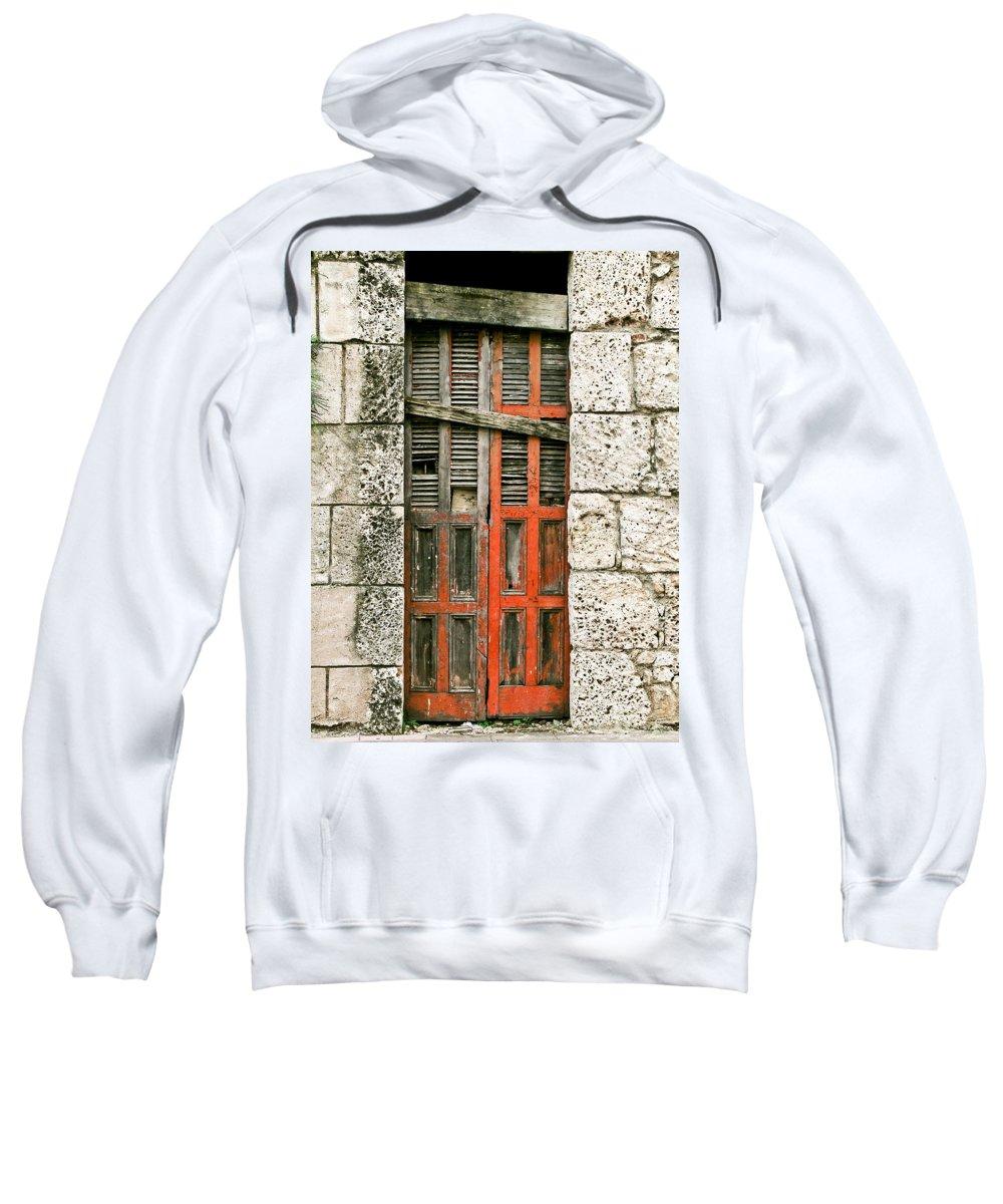 Door Sweatshirt featuring the photograph Red Door by Douglas Barnett