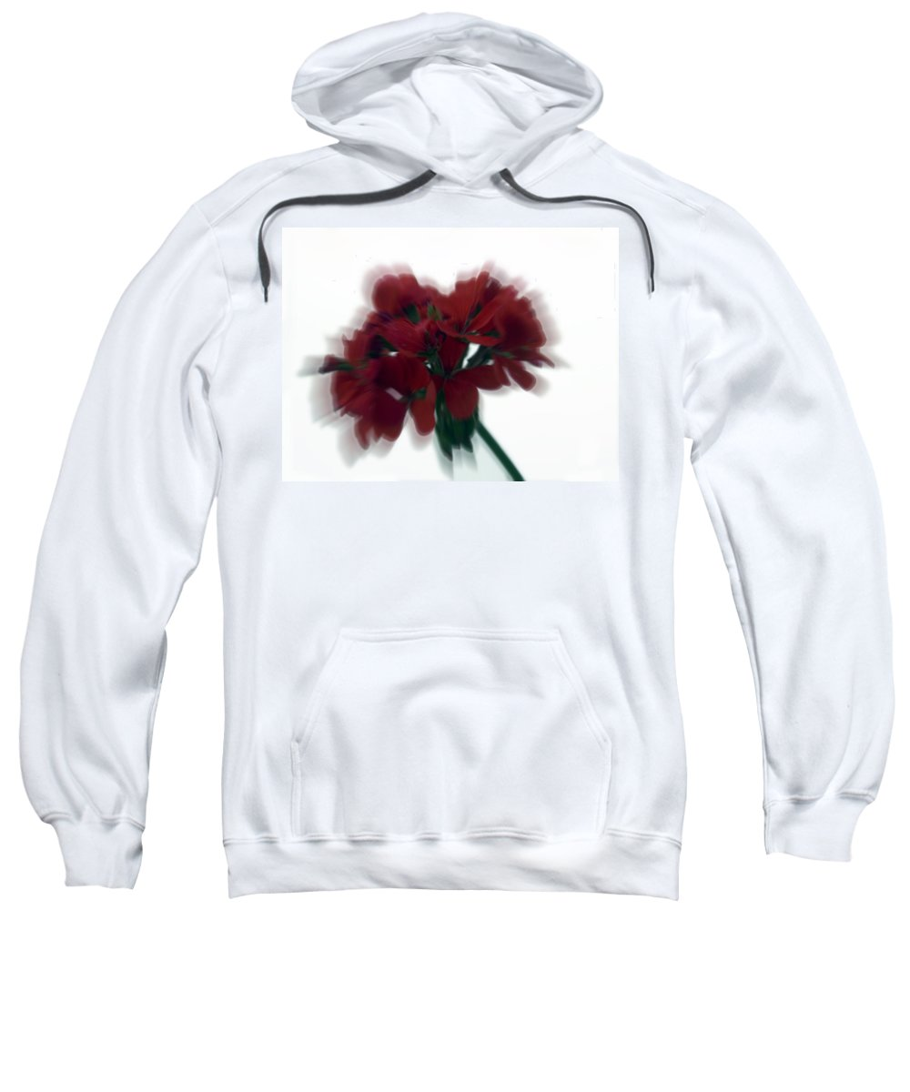 Red Sweatshirt featuring the photograph Red Flower Motion by Cliff Norton