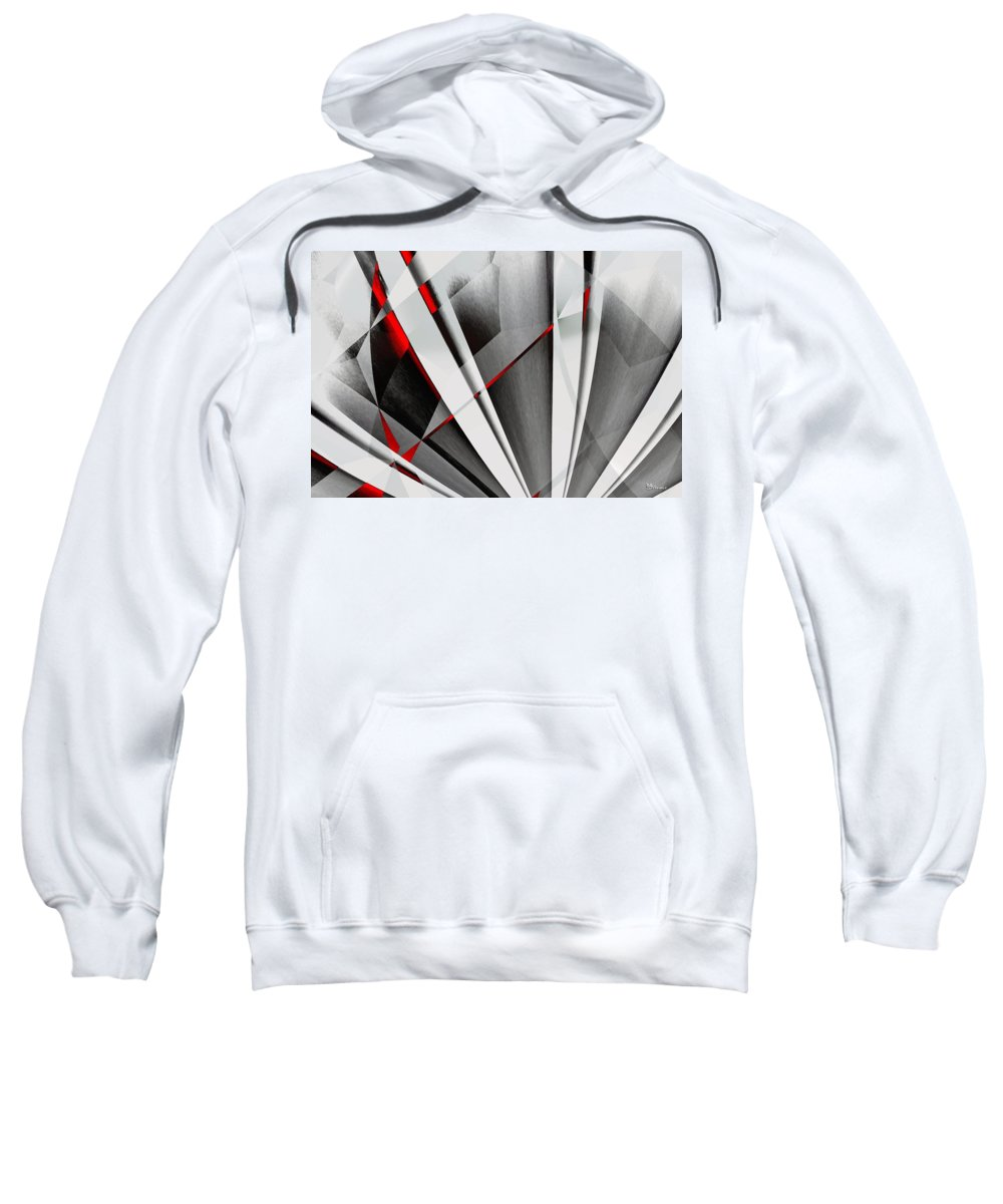 Abstractum Sweatshirt featuring the digital art Red-grey Abstractum by Max Steinwald