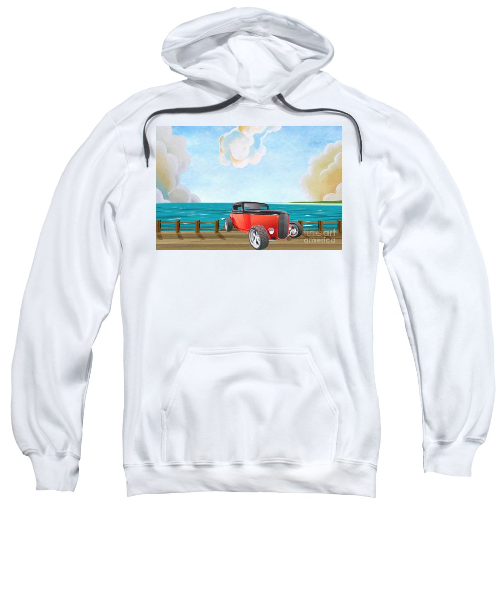 Red Hot Rod Sweatshirt featuring the painting Red Hot Rod by L Wright