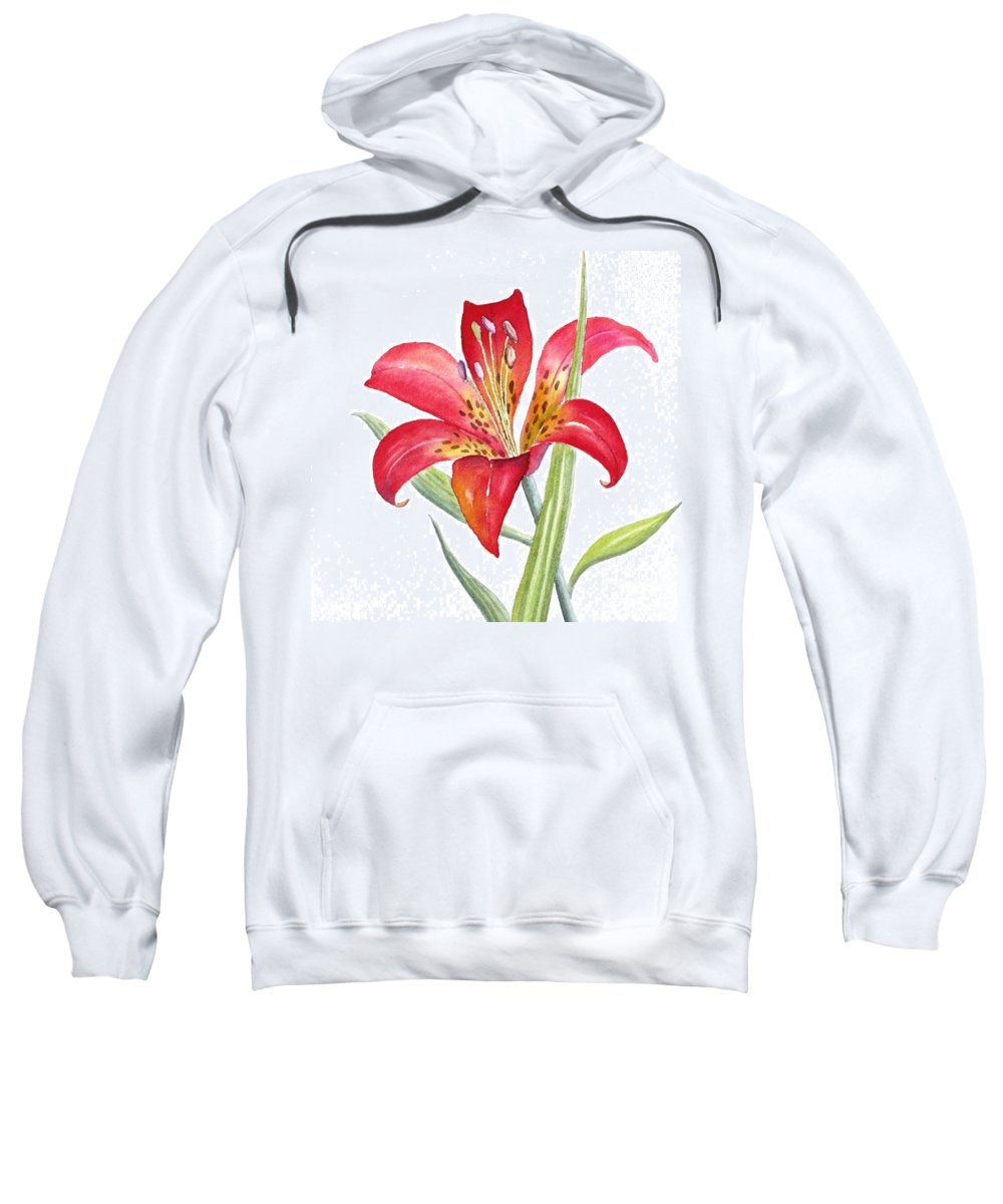 Lily Sweatshirt featuring the painting Red Lily by Deborah Ronglien