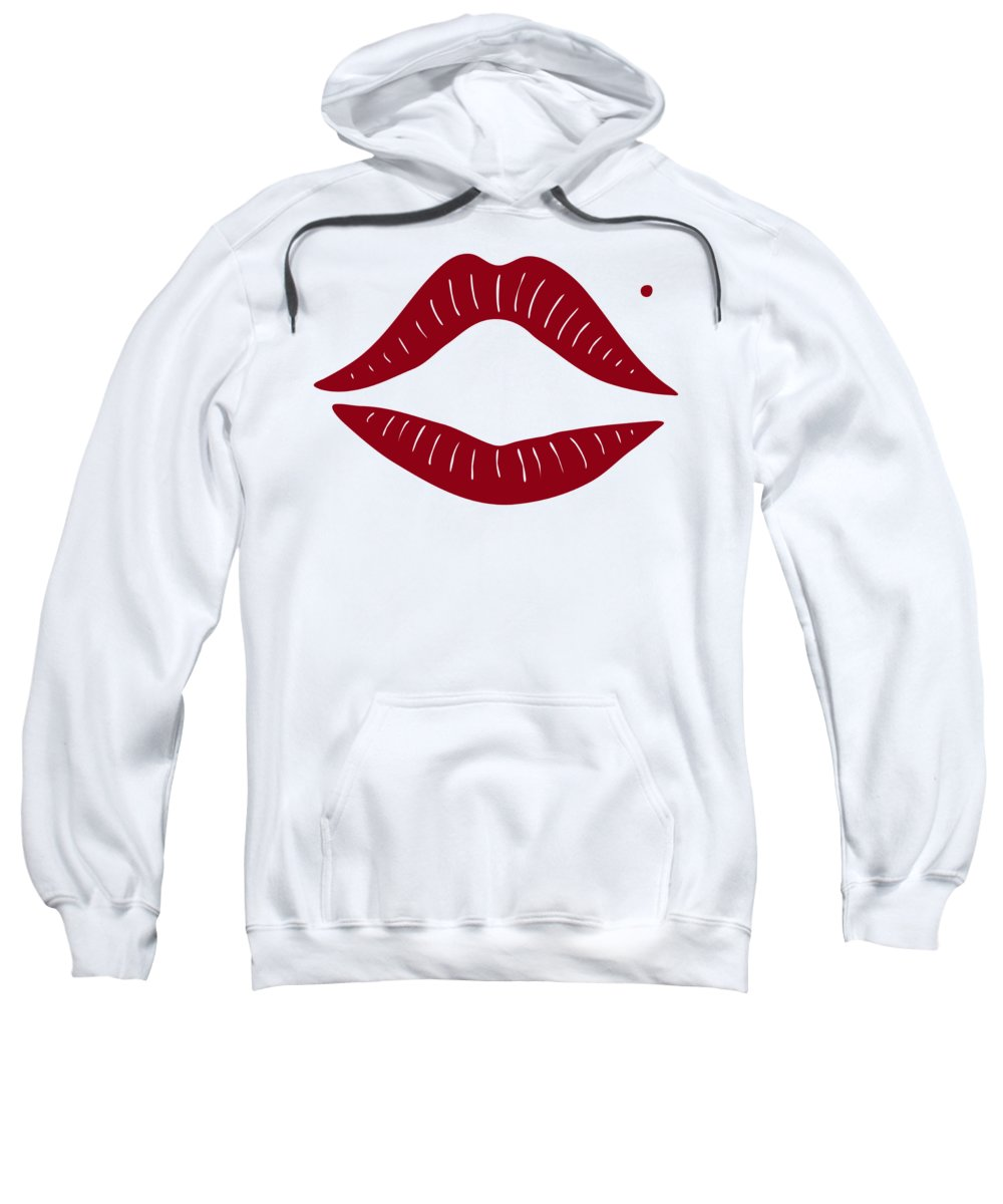 Red Sweatshirt featuring the painting Red Lips by Frank Tschakert