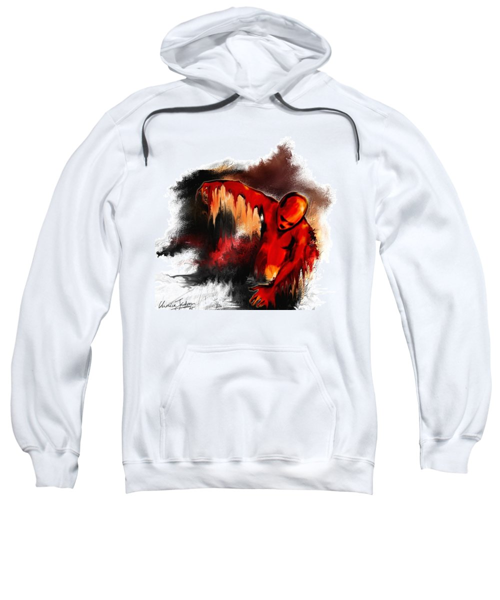 Red Man Passion Sureall Fire Sweatshirt featuring the digital art Red Man by Veronica Jackson