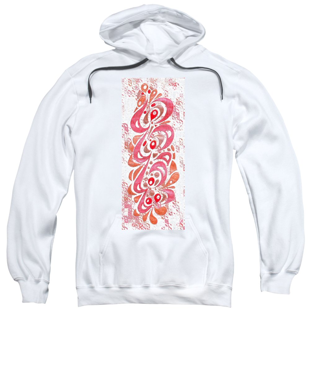 Abstract Sweatshirt featuring the digital art Red Orchid Cluster by Mark Sellers