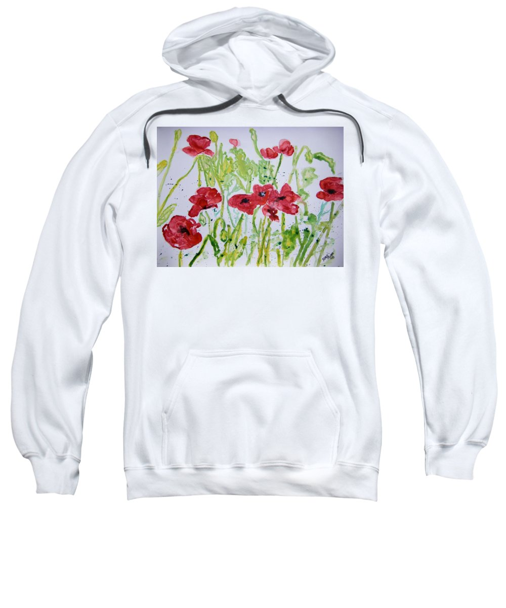 Poppy Sweatshirt featuring the painting Red Poppy Flowers by Derek Mccrea