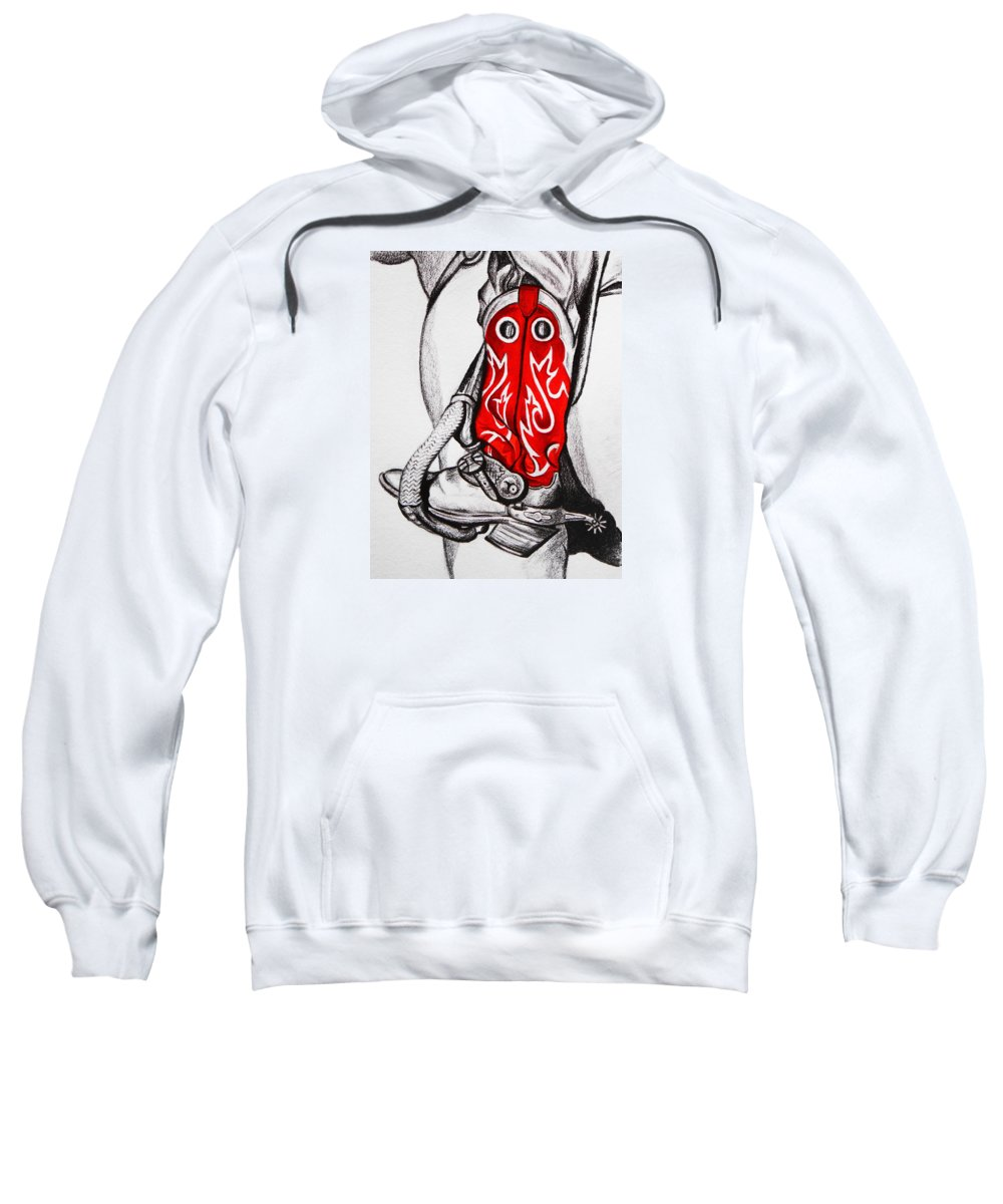 Cowboy Sweatshirt featuring the drawing Red Riding Boots by Lucy Deane
