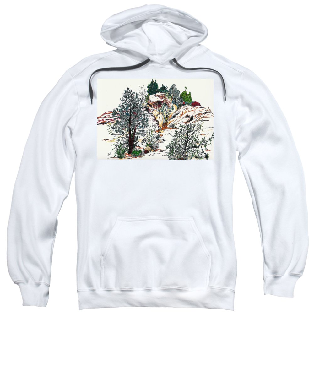 Nevada Sweatshirt featuring the painting Red Rock Children's Discovery by Vicki Housel