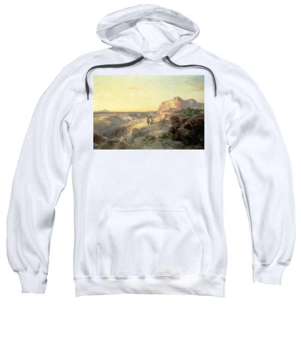Thomas Moran Sweatshirt featuring the painting Red Rock Trail by Thomas Moran