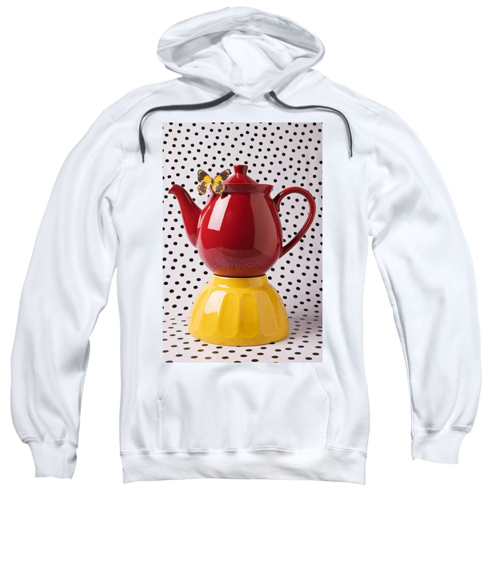 Yellow Sweatshirt featuring the photograph Red Teapot With Butterfly by Garry Gay