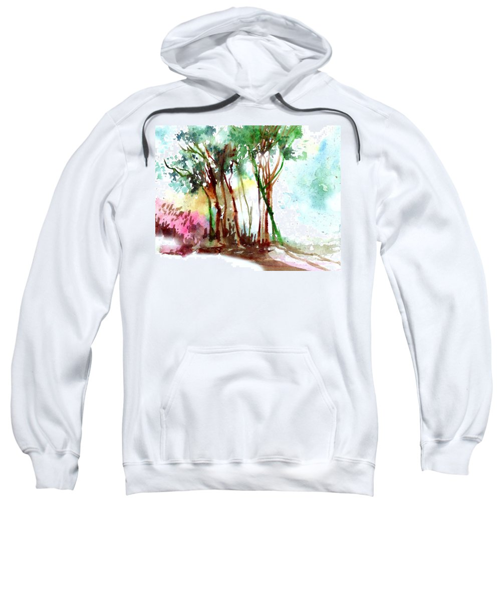 Landscape Sweatshirt featuring the painting Red Trees by Anil Nene