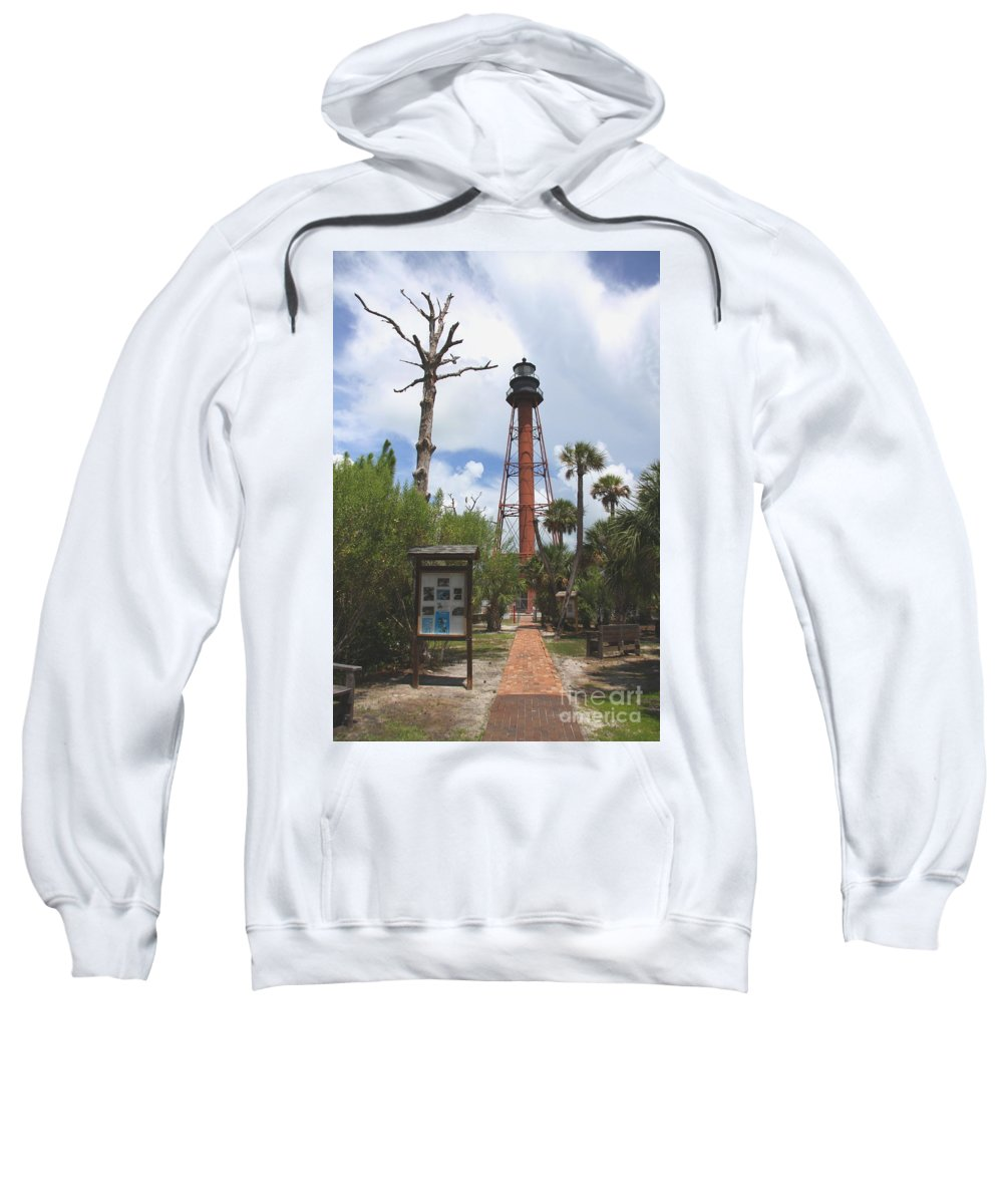 Lighthouse Sweatshirt featuring the photograph Redbrick Path To The Lighthouse by Barbara Bowen
