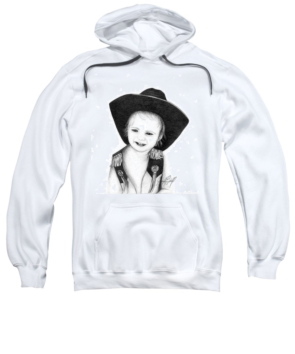 Portrait Sweatshirt featuring the drawing Reed by Jennifer Campbell Brewer