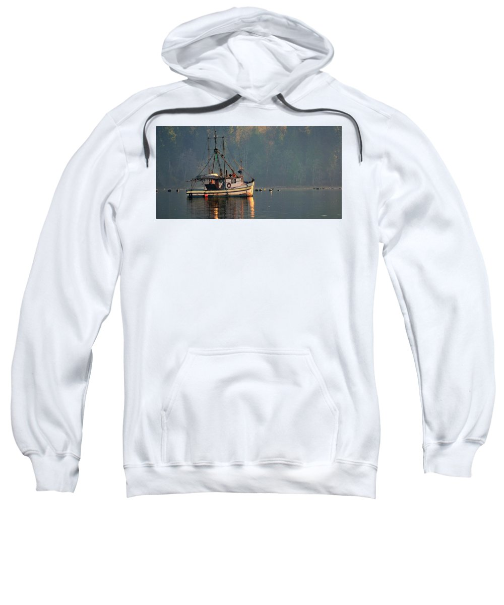 Trawler Sweatshirt featuring the photograph Reflections Of A Nautical Timepiece by Sher Falls