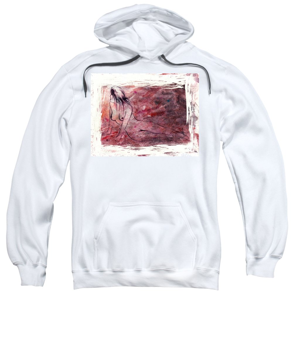 Nude Sweatshirt featuring the painting Reflection by Rachel Christine Nowicki