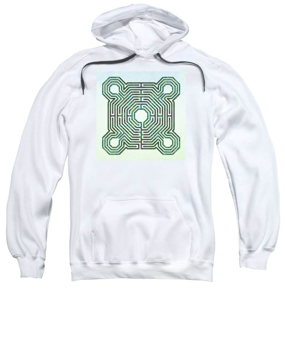 Labyrinths Sweatshirt featuring the digital art Reims - The Green Path by Fine Art Labyrinths