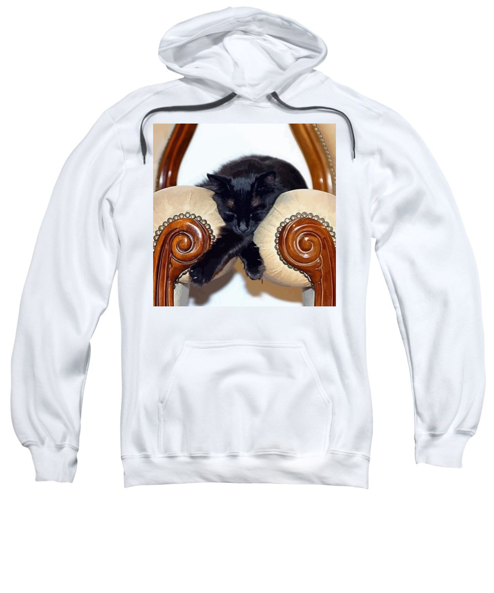 Black Sweatshirt featuring the photograph Relaxed Black Cat Sleeping Between Two Chairs by Tracey Harrington-Simpson