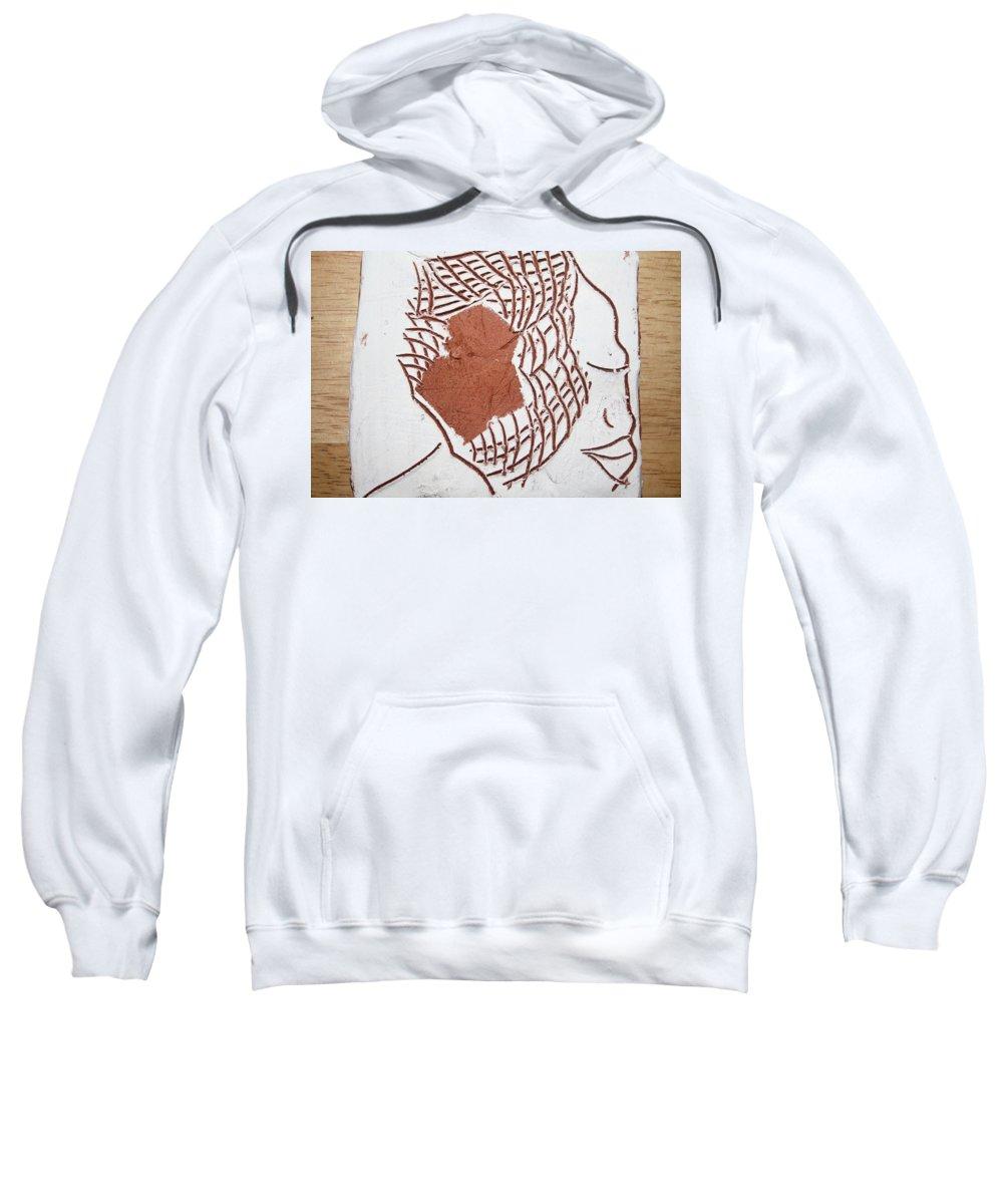 Jesus Sweatshirt featuring the ceramic art Release - Tile by Gloria Ssali