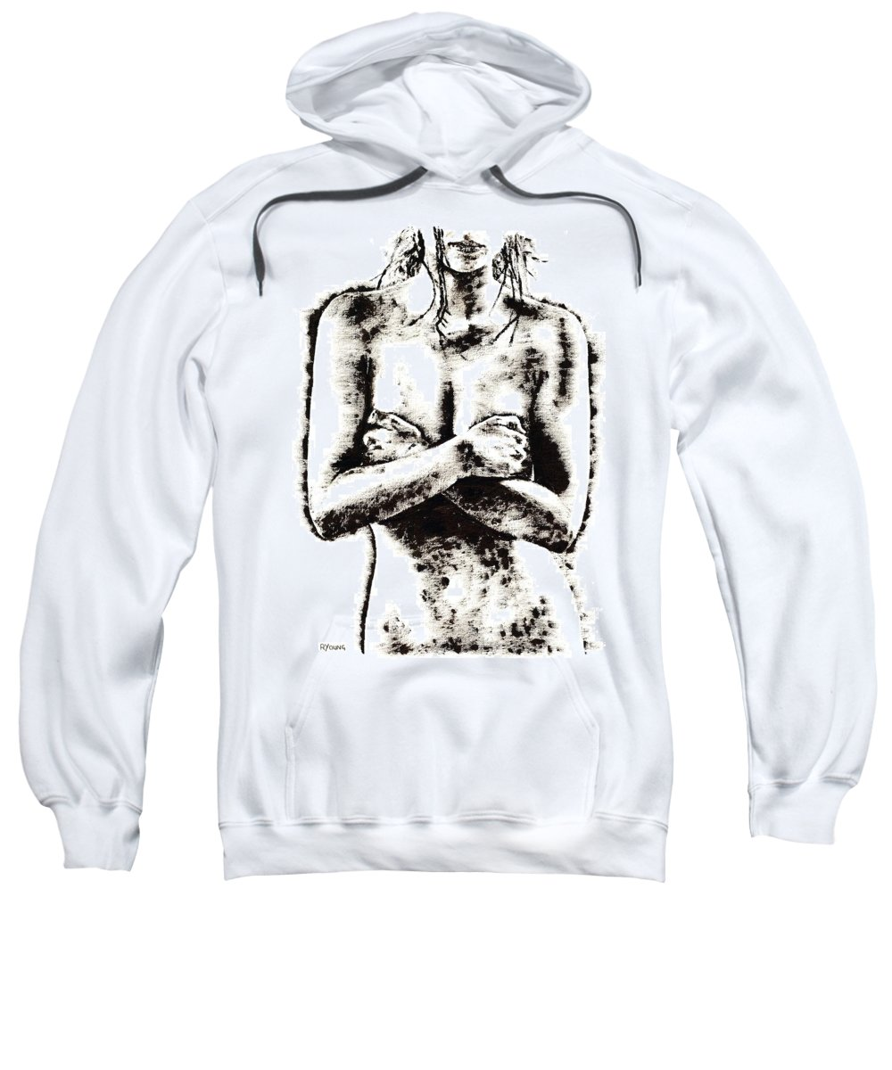 Nude Sweatshirt featuring the painting Reluctance by Richard Young