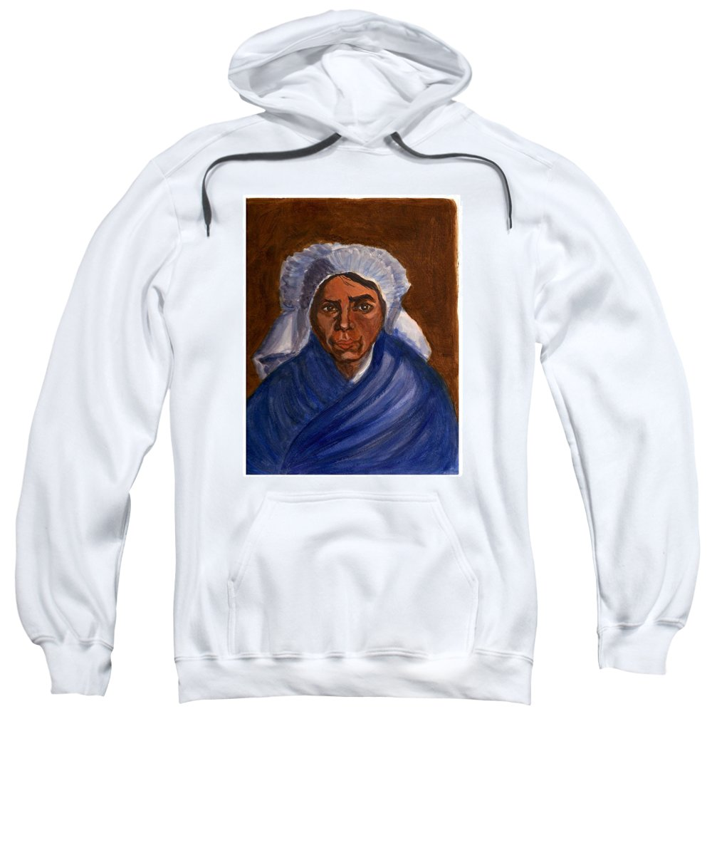 Peasant Woman By Van Gogh Reproduced Sweatshirt featuring the painting Reproduction Of Van Gogh by Asha Sudhaker Shenoy