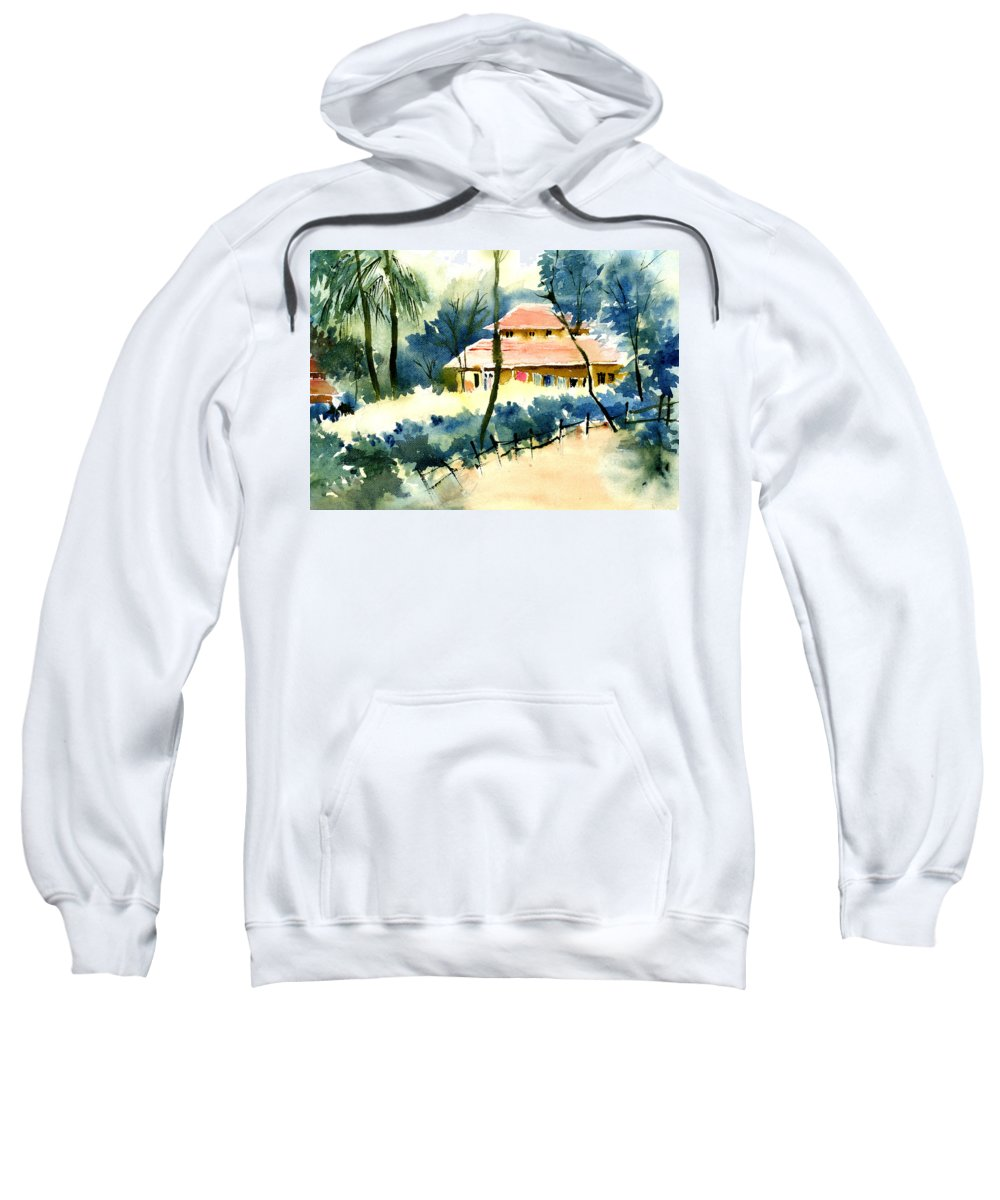 Landscape Sweatshirt featuring the painting Rest House by Anil Nene