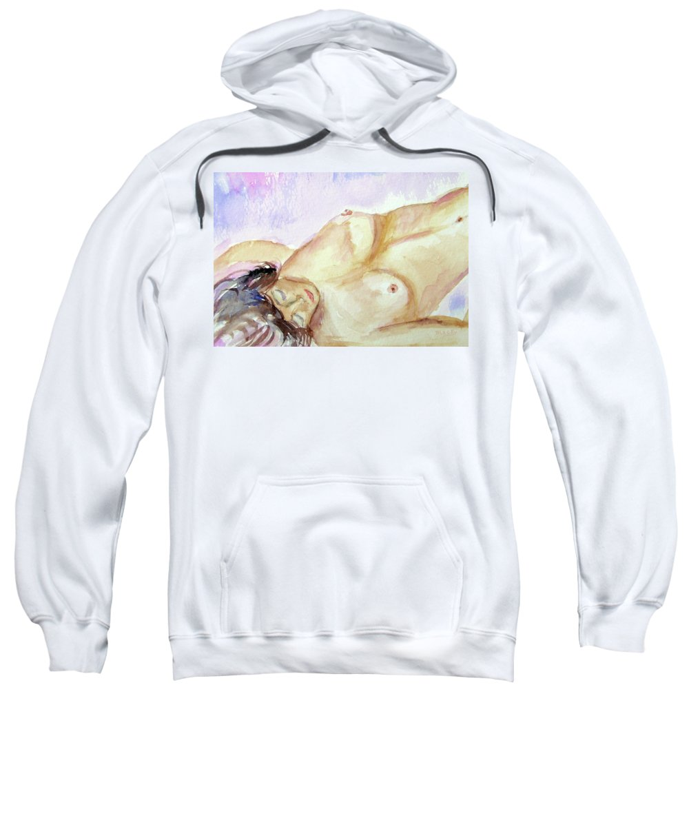 Woman Sweatshirt featuring the painting Resting by Donna Blackhall