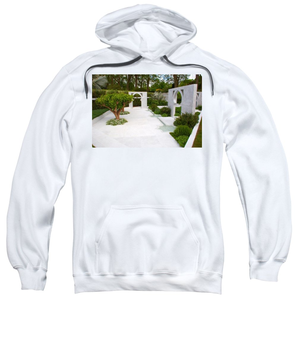 Rhs Chelsea Flower Show Sweatshirt featuring the photograph Rhs Chelsea Beauty Of Islam Garden by Chris Day
