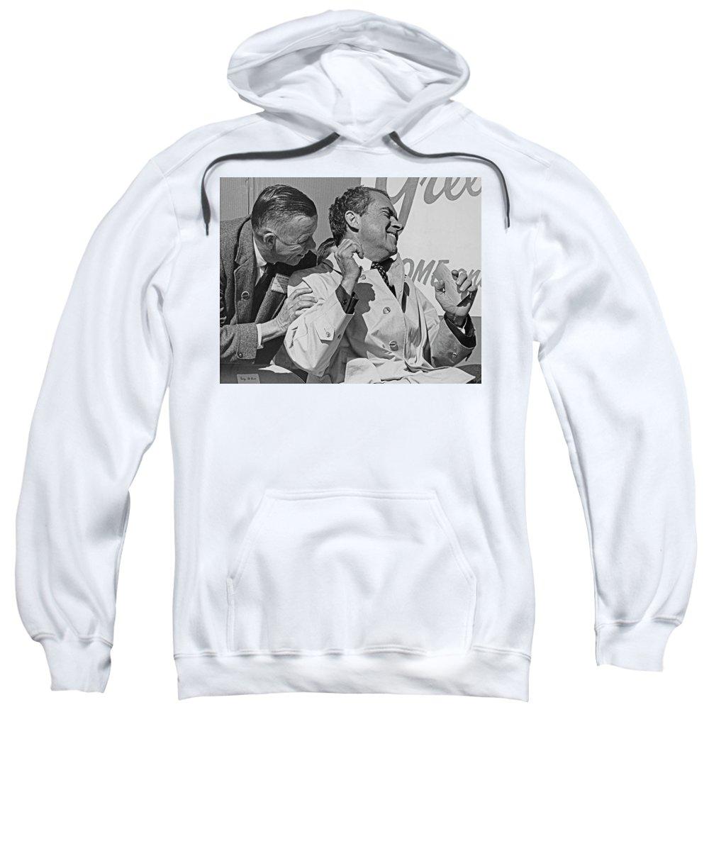 Richard Milhaus Nixon Sweatshirt featuring the photograph Richard Nixon Laughing by Richard Lund
