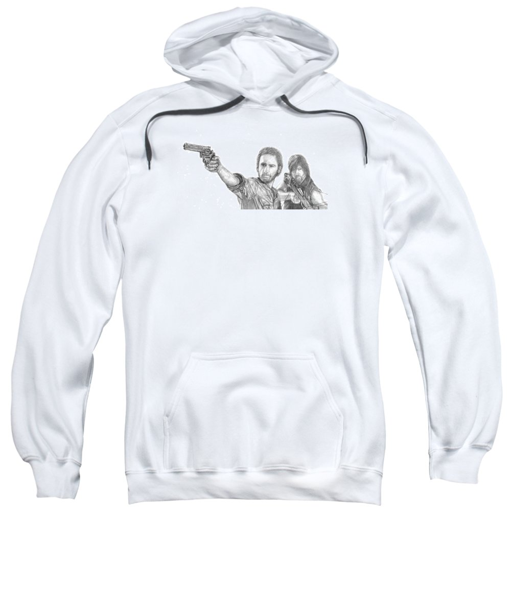 The Walking Dead Sweatshirt featuring the drawing Rick And Daryl by Jennifer Campbell Brewer