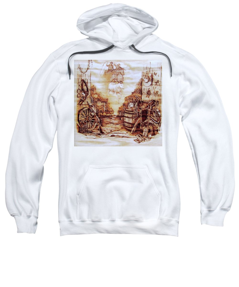 Western Sweatshirt featuring the pyrography Riders In The Sky by Danette Smith