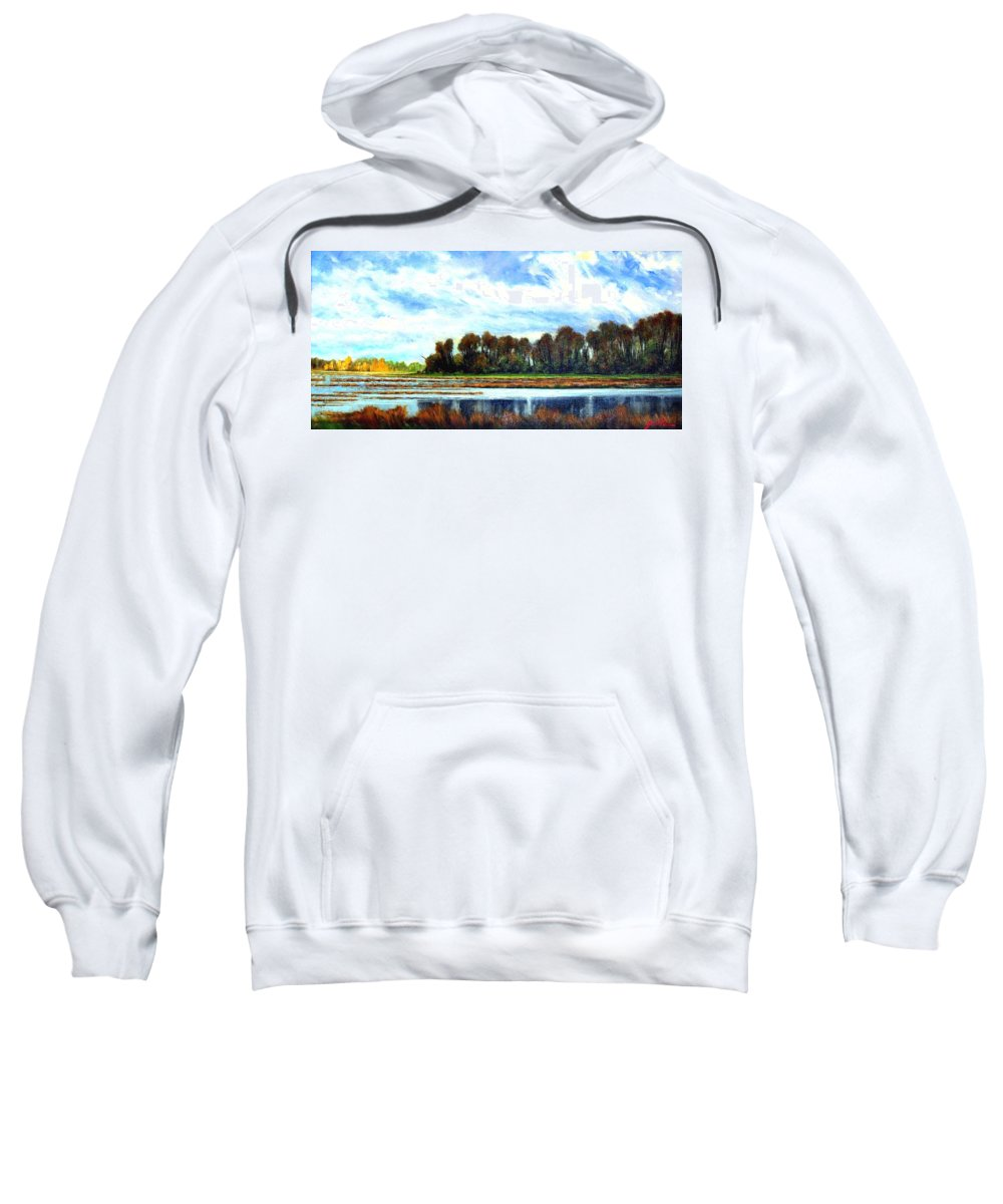 Landscapes Sweatshirt featuring the painting Ridgefield Refuge Early Fall by Jim Gola