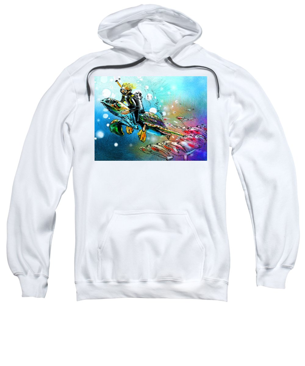 Turtle Painting Sweatshirt featuring the painting Riding A Turtle by Miki De Goodaboom