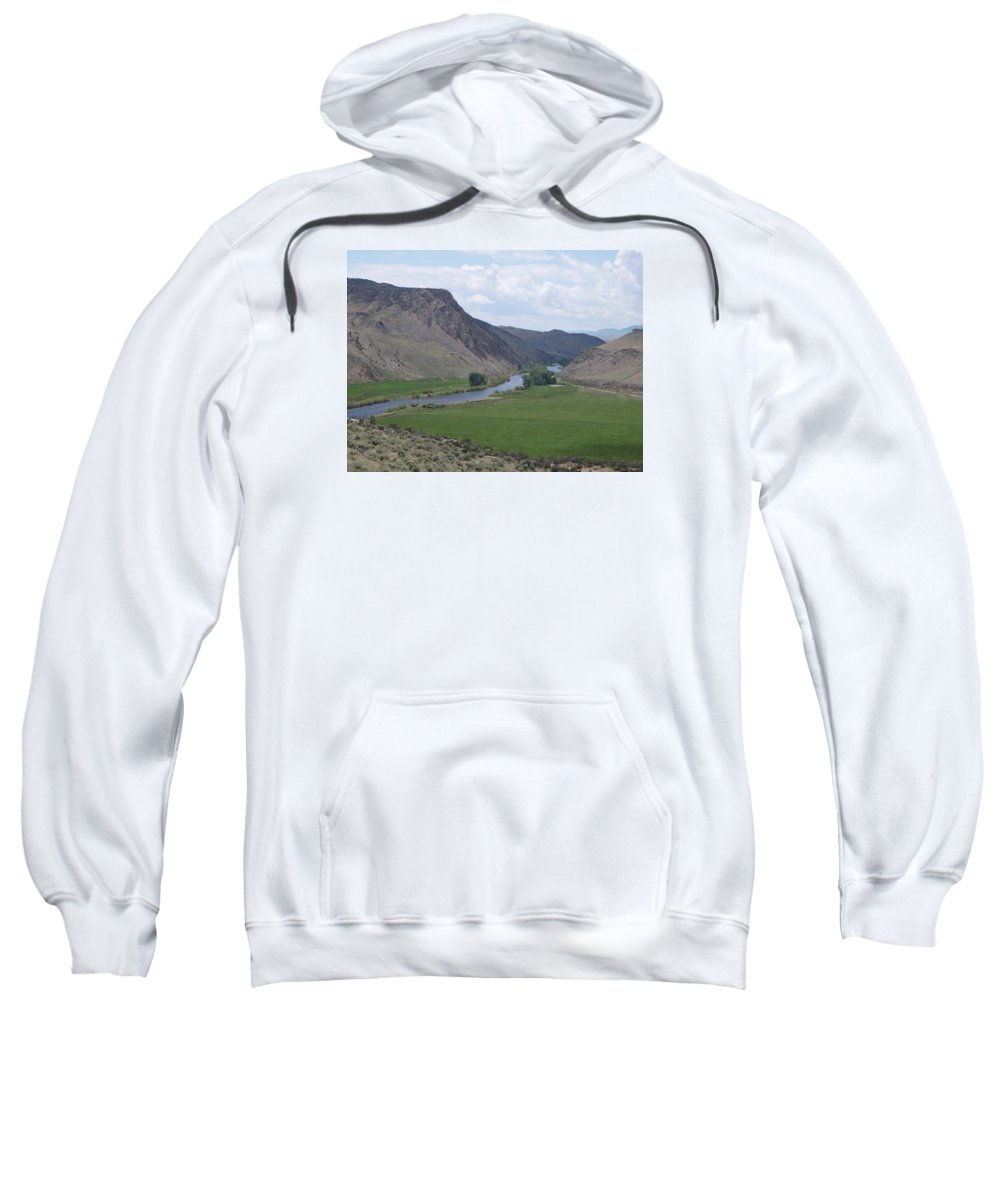 Landscape Sweatshirt featuring the photograph River In The Midst by Mary Lynne Crispo