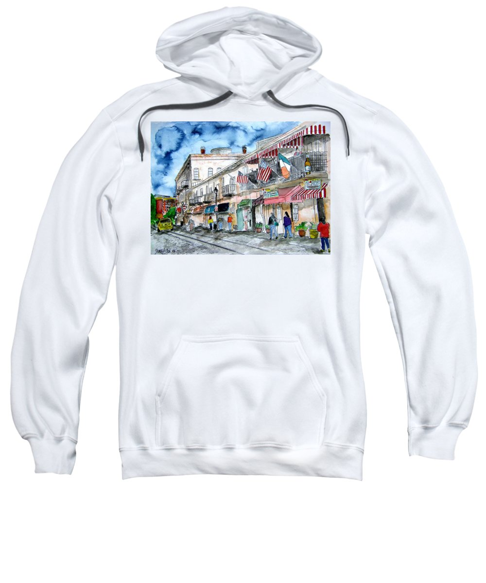 Savannah Sweatshirt featuring the painting River Street Savannah Georgia by Derek Mccrea